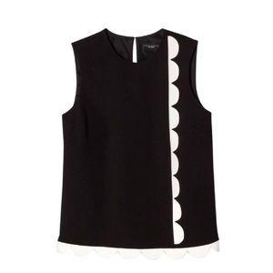 Victoria Beckham black & white scalloped blouse 2X